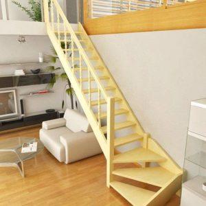 Металлическая компактная лестница с поворотом, ЛС-107