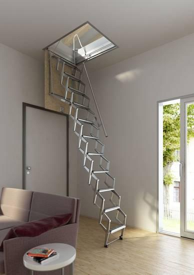 Металлическая компактная чердачная лестница, ЛС-127