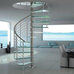 Стеклянная винтовая лестница на заказ, ЛС-137